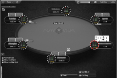 The initial view is clear and will not take much space at the poker table. You can see three key figures and the number of hands + number of Big Blinds for the player.